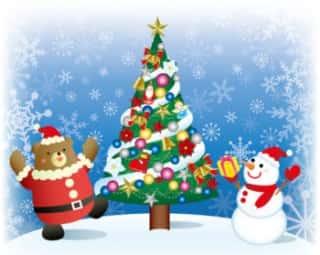 クリスマスツリーを飾り付けしてお祝いする